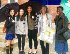 Debbie Irwin with Yale Students